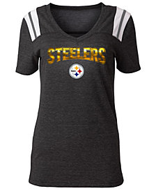 5th & Ocean Women's Pittsburgh Steelers Shoulder Stripe Foil T-Shirt
