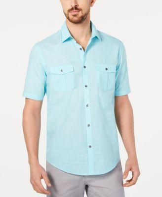 mens casual button down shirts \u0026 sports shirts macy\u0027salfani men\u0027s warren textured short sleeve shirt, created for macy\u0027s