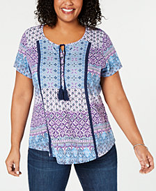 Style & Co Plus Size Batik-Print Peasant Top, Created for Macy's