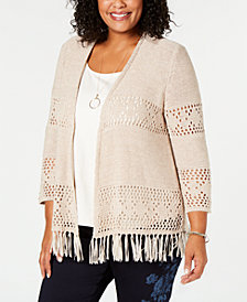 Style & Co Plus Size Fringe Lacy-Knit Cardigan, Created for Macy's