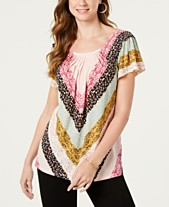 Style   Co Pleated-Neck Floral-Print Top 4fe123676