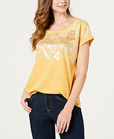 Style & Co Graphic-Print Cap-Sleeve Top, Created for Macy's