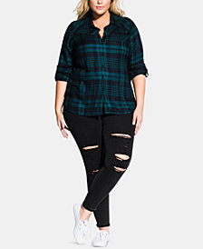 City Chic Trendy Plus Size Plaid Shirt