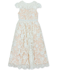Rare Editions Little Girls Floral Illusion Gown