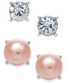 Charter Club Silver-Tone 2-Pc. Set Crystal & Imitation Pearl Stud Earrings, Created for Macy's