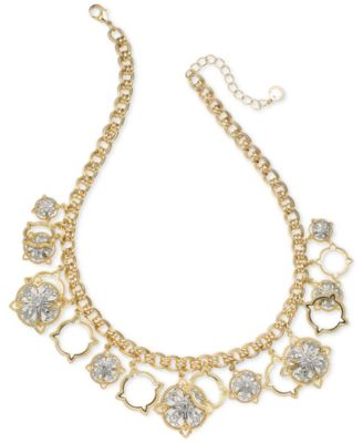 "Image of Charter Club Two-Tone Crystal Cluster Collar Necklace, 17"" + 2"" extender, Created for Macy's"