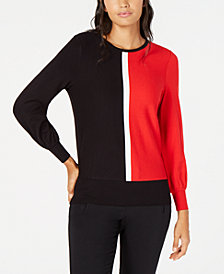 Alfani Tipped Colorblocked Sweater, Created for Macy's