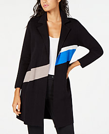 Alfani Colorblocked Trench Coat Sweater, Created for Macy's
