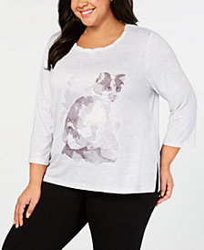 Alfred Dunner Plus Size Stocking Stuffers Studded Cat-Print Top