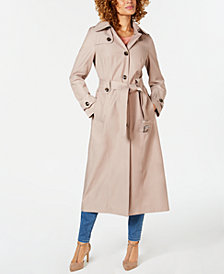London Fog Hooded Single-Breasted Trench Coat