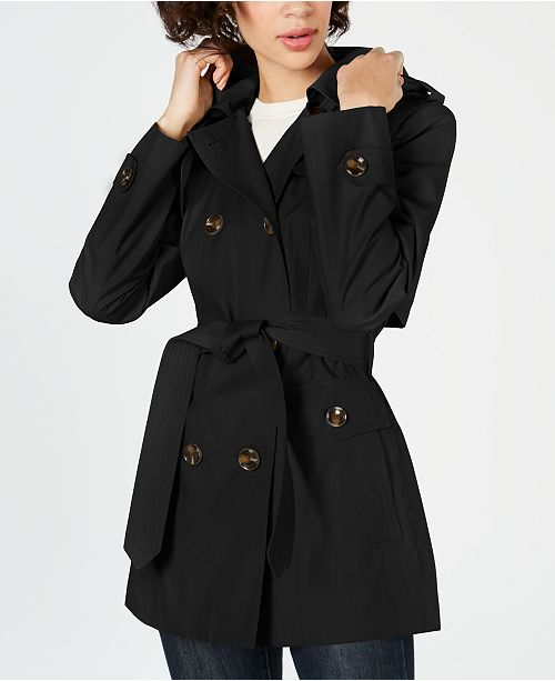 Double Breasted Water Repellent Hooded Trench Coat