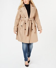 London Fog Plus Size Double-Breasted Water Repellent Trench Coat