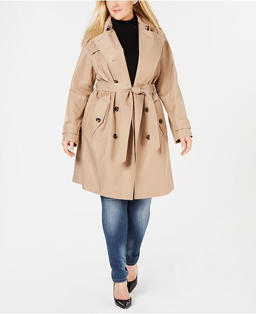 e90db8a88281 ... London Fog Plus Size Double-Breasted Water Repellent Trench Coat ...