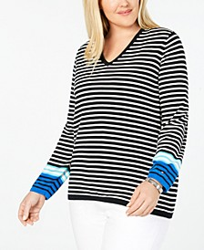 Plus Size Cotton Striped V-Neck Sweater, Created for Macy's