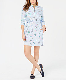 Tommy Hilfiger Cotton Printed Collarless Shirtdress, Created for Macy's