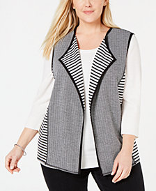 Alfred Dunner Plus Size Grand Boulevard Reversible Vest