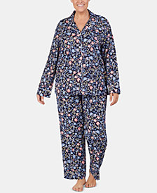 Lauren Ralph Lauren Plus Size Printed Cotton Notch Collar Pajama Set
