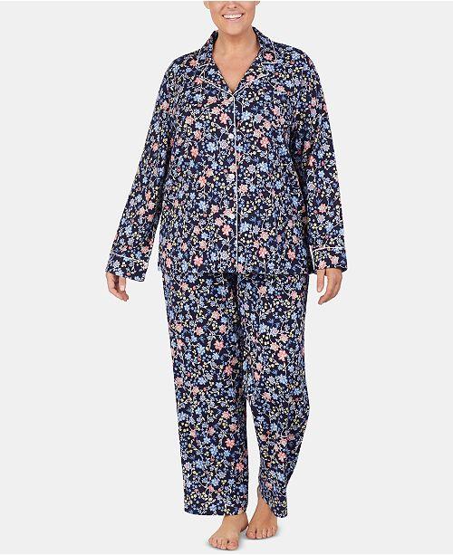 63c928f7 Lauren Ralph Lauren Plus Size Printed Cotton Notch Collar Pajama ...
