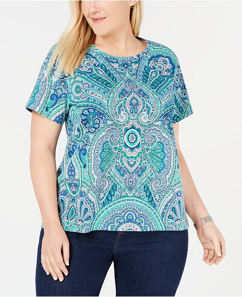 Tommy Hilfiger Plus Size Paisley-Print T-Shirt, Created for Macy's