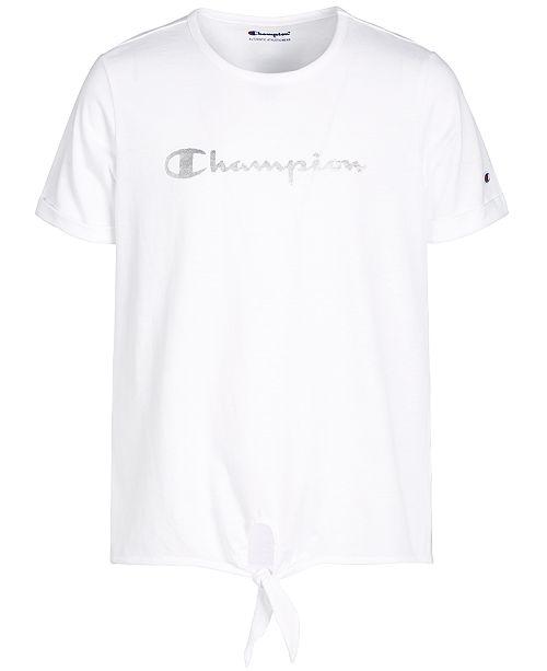 Champion Little Girls Logo-Print Tie-Front T-Shirt