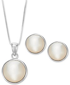 2-Pc. Set Mother-of-Pearl Pendant Necklace & Matching Stud Earrings in Sterling Silver