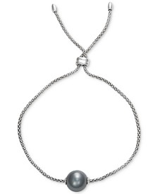 Cultured Black Tahitian Pearl (10mm) Bolo Bracelet in Sterling Silver