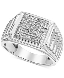 Men's Diamond Square Cluster Ring (1/3 ct. t.w.) in 10k White Gold