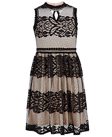 Us Angels Big Girls Lace Mesh Dress