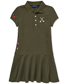 Polo Ralph Lauren Little Girls Embroidered Mesh Polo Dress