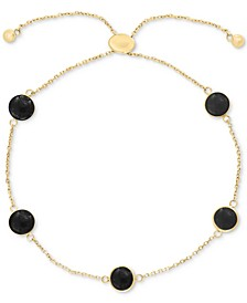 EFFY® Onyx (6mm) Station Bolo Bracelet in 14k Gold (Also in Lapis Lazuli & Jade)