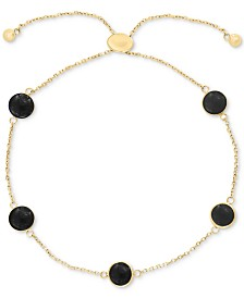 EFFY® Onyx (6mm) Station Bolo Bracelet in 14k Gold (Also in Lapis Lazuli & Jade)