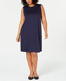 Eileen Fisher Plus Size Tencel Stretch Keyhole Dress