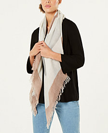 Eileen Fisher Printed Wool Fringe Scarf