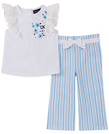 Calvin Klein Baby Girls 2-Pc. Top & Wide-Leg Pants Set