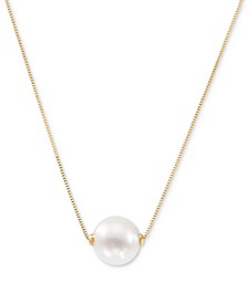 "Cultured Freshwater Pearl (8-1/2mm) 18"" Pendant Necklace in 14k Gold (Also in Pink Cultured Freshwater Pearl)"