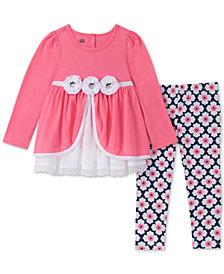 Kids Headquarters Baby Girls 2-Pc. Floral-Trim Tunic & Floral-Print Leggings Set