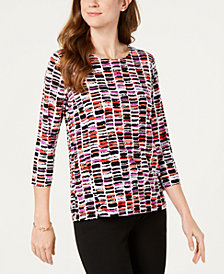 JM Collection Printed Stretch Top, Created for Macy's