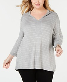 Eyeshadow Trendy Plus Size Striped High-Low Hoodie