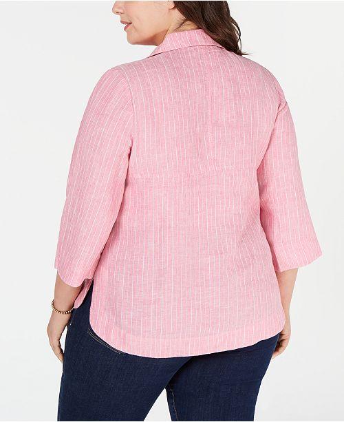 16a94712c0cb4 Charter Club Plus Size Linen Popover Shirt