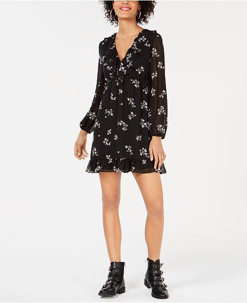 Bar III Ruffled Floral-Print Dress, Created for Macy's
