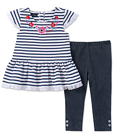 Tommy Hilfiger Baby Girls 2-Pc. Embroidered Tunic & Denim Leggings Set