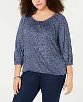 e64b10548029b MICHAEL Michael Kors Plus Size Printed 3 4-Sleeve Top