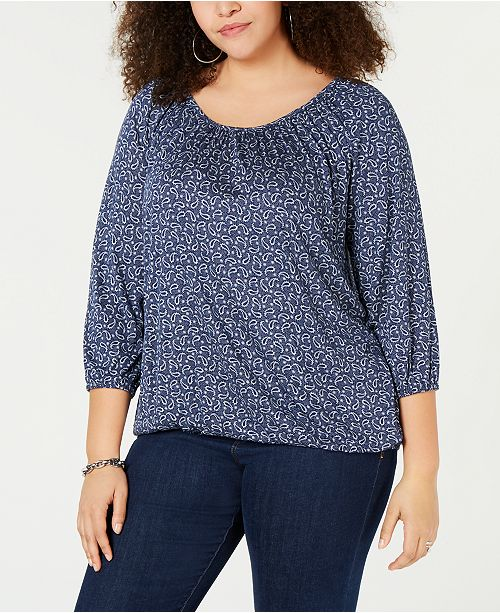7721ef7d7f4a0 Plus Size Printed 3 4-Sleeve Top. Be the first to Write a Review.  54.00.  main image  main image ...