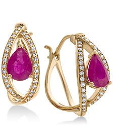 Certified Ruby (1-3/8 ct. t.w.) & Diamond (1/4 ct. t.w.) Hoop Earrings in 14k Gold