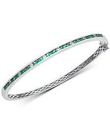 Emerald (1-1/2 ct. t.w.) & White Sapphire (1/3 ct. t.w.) Bangle Bracelet in Sterling Silver