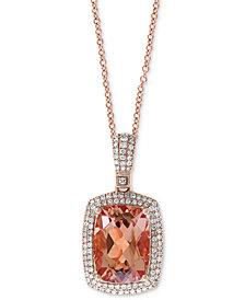 "EFFY® Morganite (6-1/3 ct. t.w.) & Diamond (1/2 ct. t.w.) 18"" Pendant Necklace in 14k Rose Gold"
