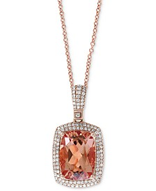 "EFFY® Morganite (6-1/3 ct. t.w.) & Diamond (1/2 ct. t.w.) 18"" Pendant Necklace in 14k Rose Gold"