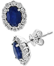 EFFY® Sapphire (1-9/10 ct. t.w.) & Diamond (1/10 ct. t.w.) Stud Earrings in 14k White Gold