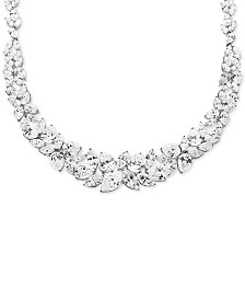 "Cubic Zirconia Cluster 16"" Collar Necklace in Sterling Silver"