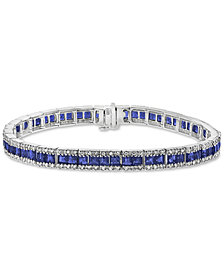 EFFY® Sapphire (8-1/4 ct. t.w.) & Diamond (9/10 ct. t.w.) Link Bracelet in 14k White Gold